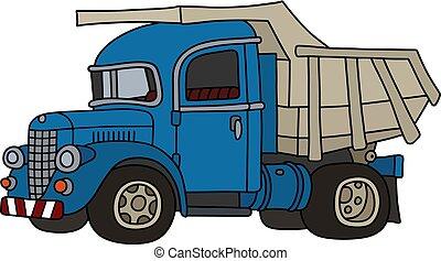 The old blue dumper truck