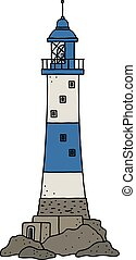 The old blue stone lighthouse