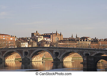 View of the Old Bridge in Toulouse, France.
