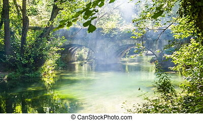 The old bridge over the forest river, the play of light and...