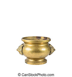 The Old bronze dragon Incense burner isolated on white background