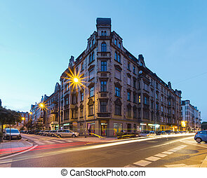 The old building after sunset. Katowice