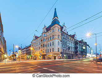 The old building in the evening. Katowice