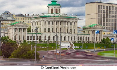 the old building of State Russian library, historical building famous as Pashkov House timelapse, Moscow, Russia