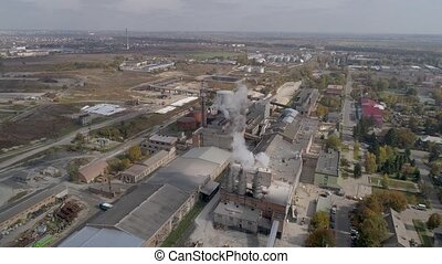 The old building of the existing sugar factory. Europe. UKRAINE. Aerial view