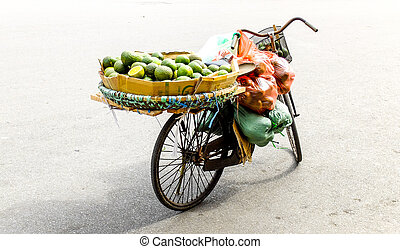 The old bycicle on street in Hanoi city Vietnam