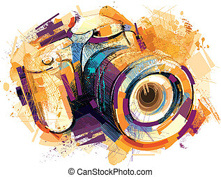 Camera was painted with Tablet full in Vector. Isolated on white Background.