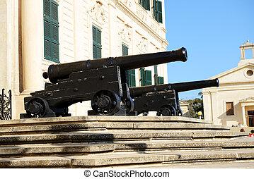 The old cannons in Valleta, Malta