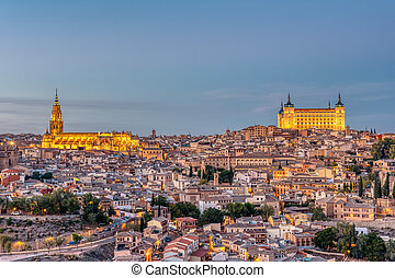 The old city of Toledo in Spain at dusk