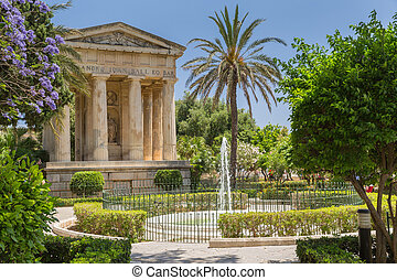 City park in the old town of Valetta