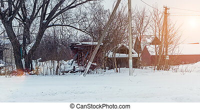 old disorganized house in the winter