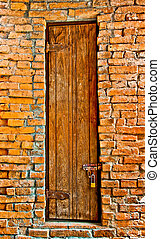 The Old door on brickwall