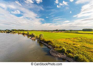 The old Dutch river IJssel in the province of Gelderland...