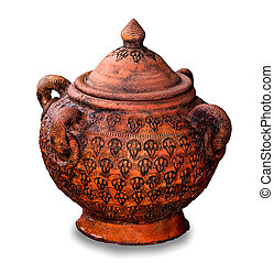The Old earthenware pot isolated on white background