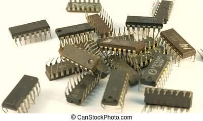 The old electric chip of the USSR. Integrated Circuit Chip