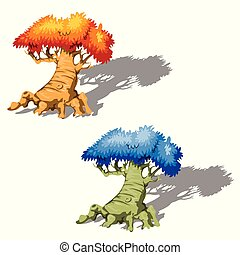 The old fantasy trees with a blue and orange tree crowns isolated on white background. Vector cartoon close-up illustration.