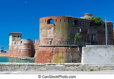The old fortress Fortezza Nuova in Livorno, Tuscany, Italy, surrounded by a navigable moat, It was built to defend the city from attack by pirates.