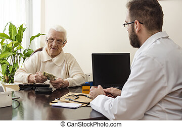 The old grandmother deducts the money in the doctor's office.
