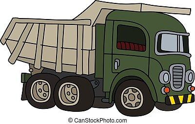 The old green dumper truck