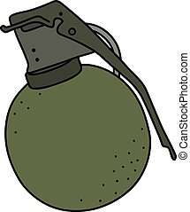 The old hand grenade - The old khaki offensive hand grenade