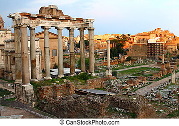 A picture of the acient part of Rome during the sunset