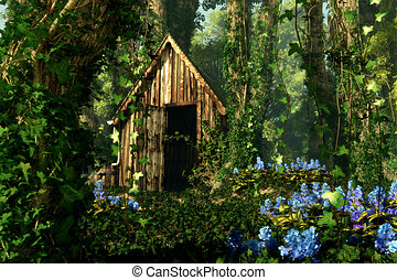 3D computer graphics of a wooden hut in the forest with blue flowers and tree trunks full of ivy