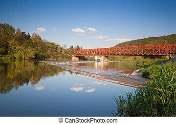 The old iron railway bridge