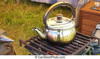 The old kettle on charcoal
