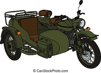 The vectorized hand drawing of a classic khaki green military sidecar