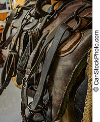 The old leather saddle horse close up detail