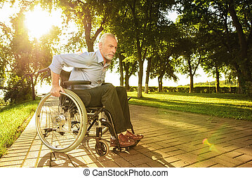 The old man is sitting on a wheelchair in the park and trying to go