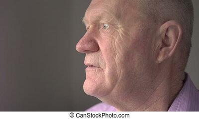 The old man look at the camera 4k