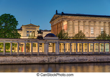 The Old National Gallery in Berlin at night