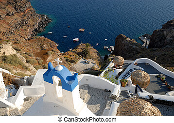 The old port in Oia, Santorini Greece