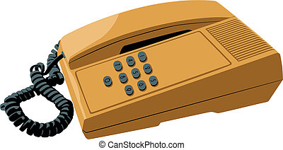push-button telephone - the old push-button telephone with a...