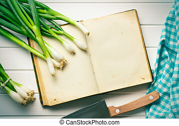 old recipe book with spring onion - the old recipe book with...