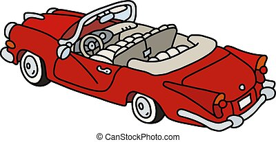 The old red american cabriolet
