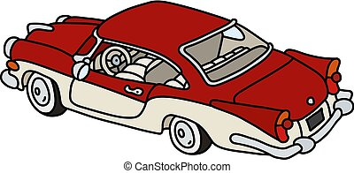 The old red and white american car