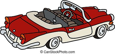 The old red and white cabriolet