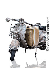 the old rusty or retro motorcycle is isolated with vintage...
