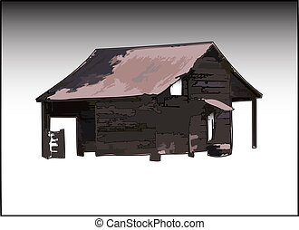 The Old Shed - Illustration of an old shed isolated