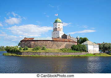 The old st. Olaf's Tower in the old Vyborg castle, sunny August day. Russia