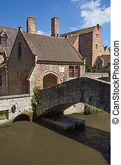The old stone bridge in Bruges