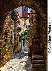The old street of Jaffa, Tel Aviv - The old narrow small ...