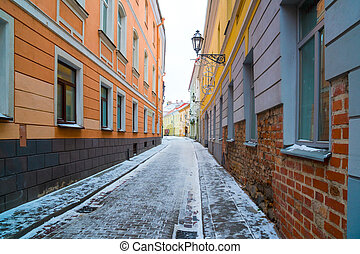 The old streets of Vilnius. New Year in Lietuva.