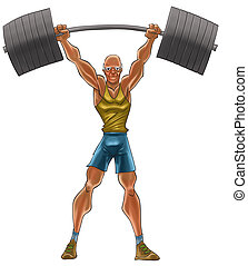 The old strong man - the old man lifting a heavy iron