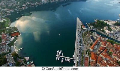 The Old Town of Kotor. Flying over the city. Aerial survey by a