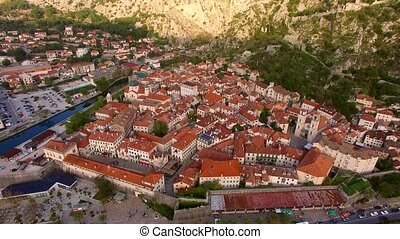 The Old Town of Kotor. Flying over the city.
