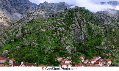 The Old Town of Kotor. The wall around the city on the mountain.