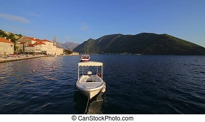 The old town of Perast on the shore of Kotor Bay, Montenegro.